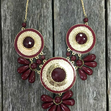 QUEEN OF THE NILE NECKLACE IN BURGUNDY