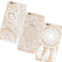 iPhone 6s Case, AiGoo 3-Pack Plastic Case Ultra Slim Cover, Henna White Floral Paisley Flower Mandala Retro/Vintage Floral Flowers Pattern Cover Clear Hard Case for iPhone 6 (2014), iPhone 6s (2015)