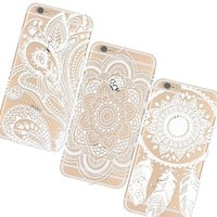 "iPhone 6 4.7inch Case Cover,3pc Plastic Cases Covers for Apple Iphone6 4.7"" Henna White Floral Paisley Flower Mandala Retro/Vintage Floral Flowers Pattern Clear/Transperant Durable PC Hard Case Ultra Slim Fit For Iphone 6 4.7"" White,With a Stylus"