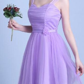 New Women Purple Patchwork Spaghetti Strap Grenadine Tutu Bridemaid Prom Mini Dress