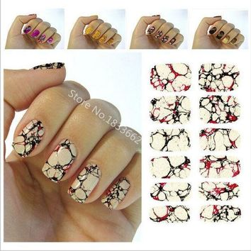 2016 New Water Transfer Nail Foil Sticker Art Sexy Red Yellow Blood Marble Stone Rock Nail Wraps Sticker Manicure Decals