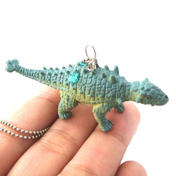 Euoplocephalus Armored Dinosaur Shaped Pendant Necklace in Blue | Animal Jewelry