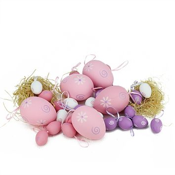 Set of 29 Pastel Pink  White and Purple Painted Floral Spring Easter Egg Ornaments 3.25""
