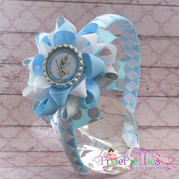Frozen Olaf The Snowman Loopy Flower Hair Bow Headband