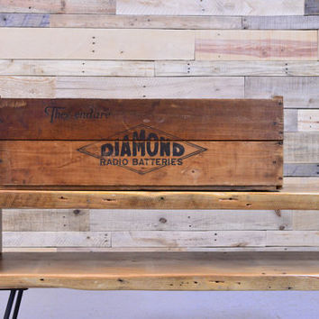 Vintage Diamond Radio Batteries Wood Shipping Crate, Chicago Wood Crate