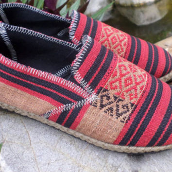 Tribal Mens Shoes Espadrille Loafer Style in REd And Black Ethnic Naga Textiles Vegan