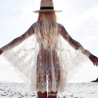 Lace gauze embroider sleeve beach unlined upper garment