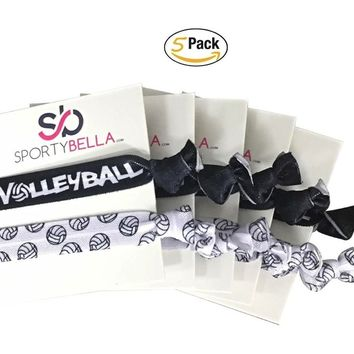 Volleyball Hair Ties - 5 pack - Black White