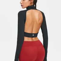 Back Cutout High Neck Workout T-shirt