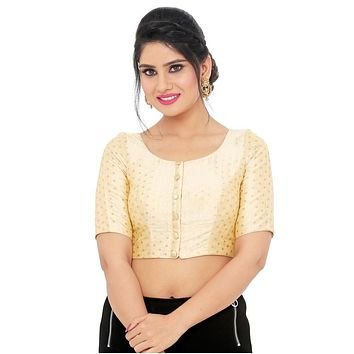 Designer Indian Traditional Gold Brocade Padded Elbow Sleeves Saree Blouse Choli (X-764.Elb)