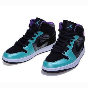 Nike Air Jordan Retro 1 High Tops Contrast Sports shoes Mint green Black hook G-CSXY