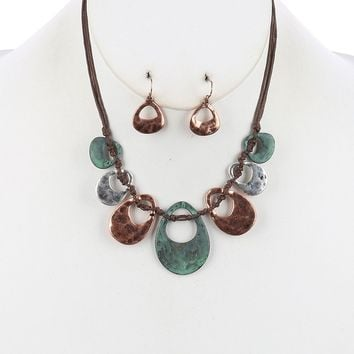 Cutout Multi Cord Bib Two Tone Knotted Necklace Earring Set Turquoise