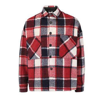 Hiphop Loose Fit Vintage Plaid Flannel Shirt Thick Warm Long Sleeve Kanye Tops Streetwear