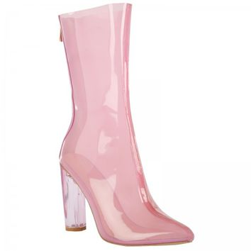 Tasha Pink Transparent Calf Boots