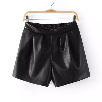 Slim Casual PU Leather Pants Shorts [4918043140]