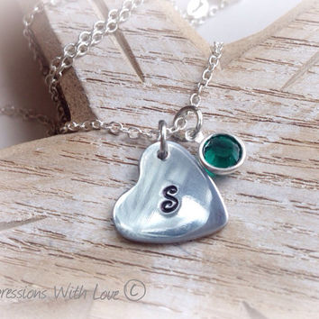 Hand stamped personalised heart initial necklace