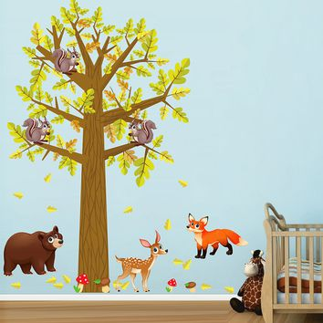 cik1659 Full Color Wall decal bedroom children's room decor Custom Baby Nursery on bed baby tree nusery decal tree forest animals