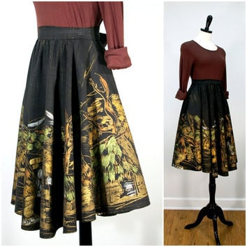 Mexican Circle Skirt, 1950s Souvenir Hand Painted Metallic Circle Skirt, Black Skirt with Painted Village Scene Size XS
