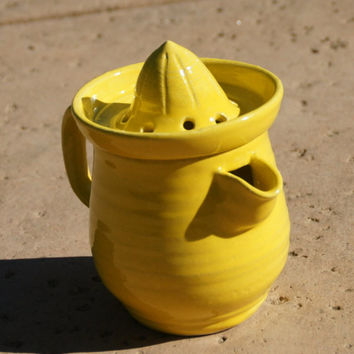 Yellow Citrus Juicer with Small Pitcher