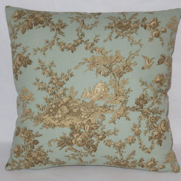 "Blue & Brown Toile Pillow, French Scenic Country,  Robin's Egg, 17"" Square Cotton, Zipper Cover Only or Insert Included, Ready to Ship"