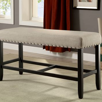 Hallie Rustic Counter Height Bench, Antique Black