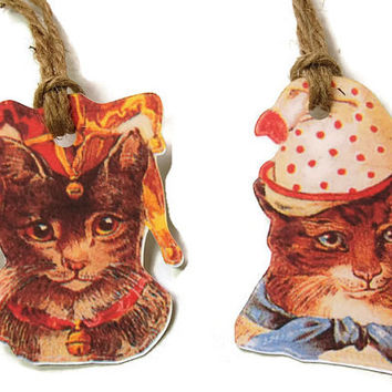 Victorian Cats in Hats Gift Tags, Party Favor Tags, Thank You Tags, Birthday Party Decoration, Party Bag Tags,Cat Themed Party,Cat Gift Tags