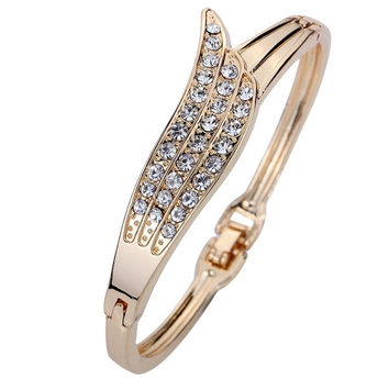 "Jewelry Elegant Rose Gold Angle Wing Carve Crystal Charming Bangle Bracelet Women Gift 2.2"" (Color: Gold) = 1958193988"