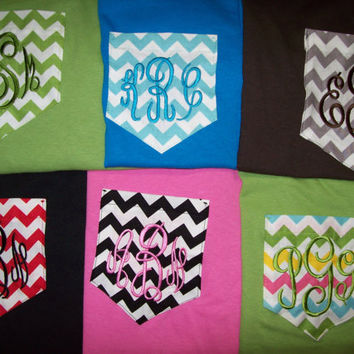 Custom Boutique Monogrammed Pocket T-Shirt Chevron Personalized women sm-XL