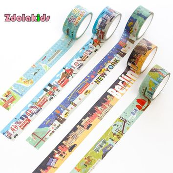 20mmx5m World Famous City Travel Washi Tape DIY Decorative Scrapbook Masking Tape Office Adhesive Tape Stationery Label