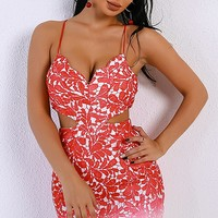 Summer Dreams Red Pink Ombre Lace Spaghetti Strap Cut Out Backless Bodycon Mini Dress