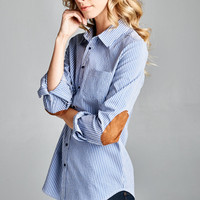 Pin Stripe Elbow Patch Button Down Top