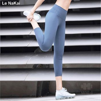 Le NaKai Solid High waist womens athletic leggings Tummy Cotrol fitness legging yoga capris gym tights workout clothes for women