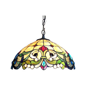 "DULCE Tiffany-style 2 Light Victorian Ceiling Pendent 18"" Shade"