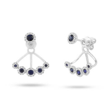 0.33ct Diamond & 0.57ct Blue Sapphire 14k White Gold Earring Jacket with Studs