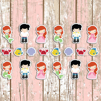 20 Ariel Mermaid Disney Themed Planner Stickers | Erin Condren | Kikki K | Inkwell | Plan | Sticker | Mermaid | Princess | Flounder | Crab |