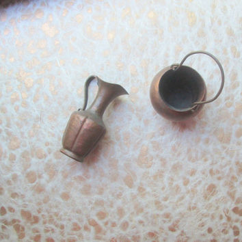 Copper Pot Kettle and Urn Vintage Collectible Miniatures Made in Italy