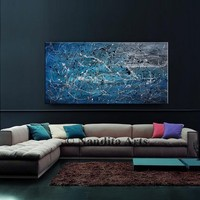 """Oil Painting, Blue Jackson Pollock Style 48"""" Original Painting on Canvas - Extra Large Abstract Art, Abstract Painting Office Decor, Nandita"""