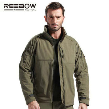 REEBOW TACTICAL Men Winter Softshell Outdoor Hiking Fleece Jacket  Autumn Military Officer Coat Windproof Thermal Outerwear