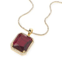 Royal Red Ruby Gem Pendant with Iced Out CZ Necklace