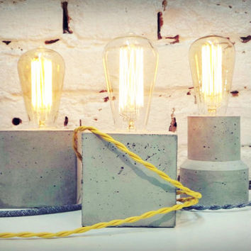"Concrete Lamp ""The Cube"" - Lighting - Concrete table lamp with textile cable and vintage Edison bulb"