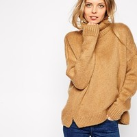 ASOS Chunky Sweater In Brushed Yarn With Roll Neck