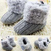 Baby Fleece Knit Soft Snow Crib Shoes = 1946092740