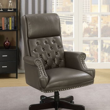 Bovill collection gray leather gel tufted back and nail head trim office chair with casters
