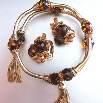 Brown Glass Wrap Coil Bracelet Earrings Set, Tassels, Gold Tone, Vintage