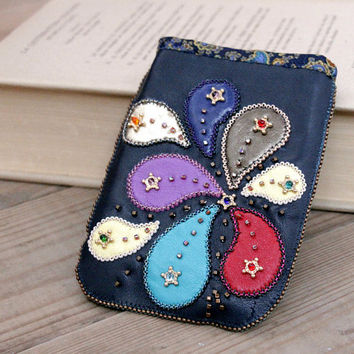 Leather phone case with hand embroidery.Paisley.Phone wallet hand embroidery holder,Lining of silk fabric with ornament Paisley.iphone case