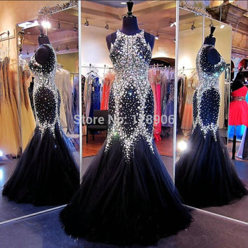 Sparkly Black Prom Dress 2015 O Neck Beaded Crystals Long Prom Dress Floor Length Tulle Backless Mermaid Prom Gowns Custom Made