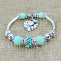 silver love heart charm bracelet bangles glass beads strand bracelets  fashion jewelry