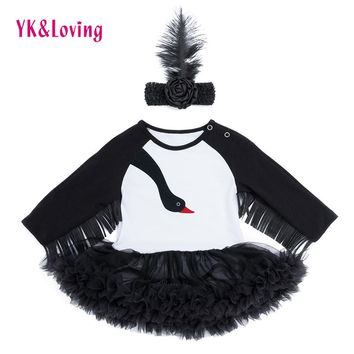 2018 New Design Long Sleeve Tassel Black Swan Lace Dress Costume Trolls For Baby Girls Clothes Carnival Party Fashion Gift