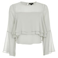 Flute Crinkle Sleeve Blouse - Tops - Clothing