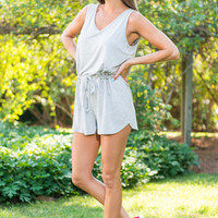 Romp Around Town Romper, Heather Gray
